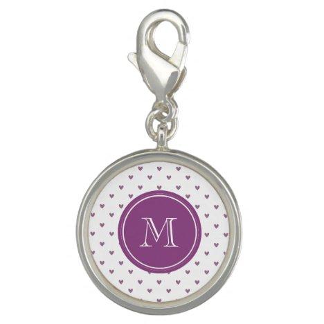 Plum Glitter Hearts with Monogram Charm