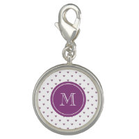 Plum Glitter Hearts with Monogram Charms