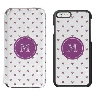 Plum Glitter Hearts with Monogram Incipio Watson™ iPhone 6 Wallet Case
