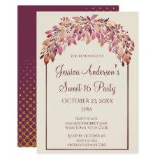 Plum Gold Floral Autumn Fall Sweet 16 Birthday Card