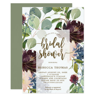 plum gold floral bridal shower invitation
