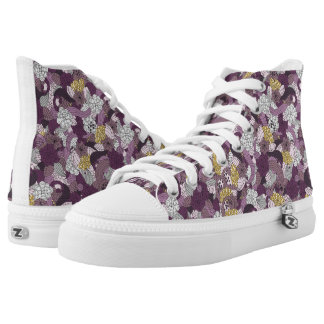 Plum, Gold & Gray Floral Design - High Top Shoes