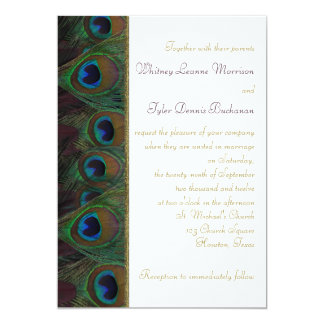 "Plum, Gold Peacock Feathers Wedding Invitation 5"" X 7"" Invitation Card"