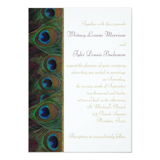 Plum Gold Peacock Feathers Wedding Invitation Zazzle Com