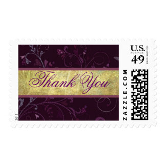 Plum & Gold Thank You Stamp