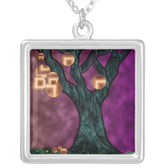 Plum Gold ~ Trees Please Sterling Silver Silver Plated Necklace
