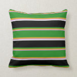 [ Thumbnail: Plum, Goldenrod, Forest Green, Black & White Throw Pillow ]