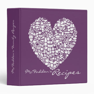Plum Grape Purple Recipe Personalized Name Binder