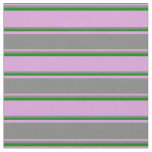 [ Thumbnail: Plum, Gray, and Green Colored Stripes Fabric ]
