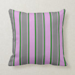 [ Thumbnail: Plum, Gray, and Green Colored Stripes Throw Pillow ]