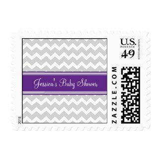 Plum Gray Chevron Custom Baby Shower Stamps