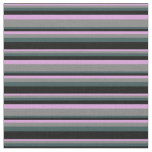 [ Thumbnail: Plum, Gray, Dark Slate Gray & Black Lined Pattern Fabric ]