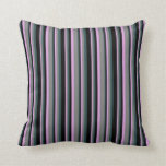 [ Thumbnail: Plum, Gray, Dark Slate Gray & Black Lined Pattern Throw Pillow ]