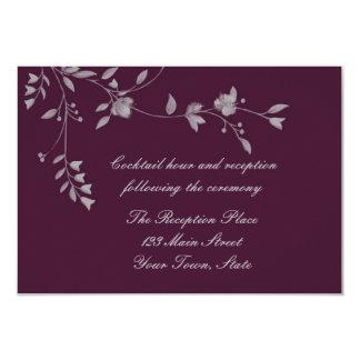 Plum Gray Floral Reception Card
