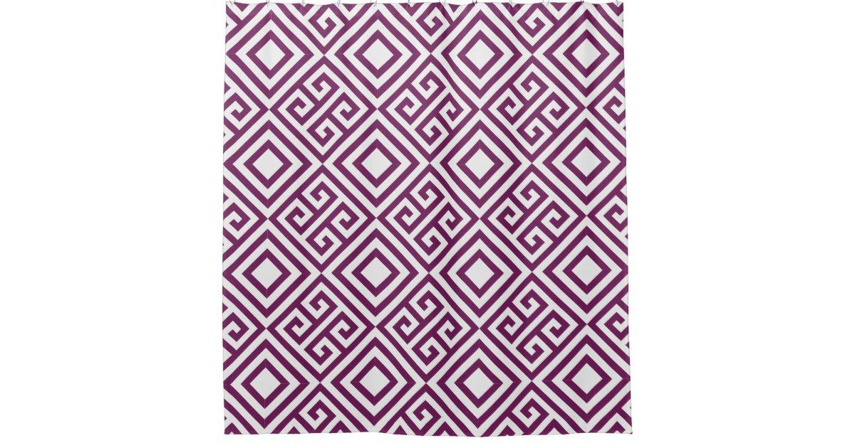 Plum Greek Key And Diamond Geometric Pattern Shower Curtain Zazzle