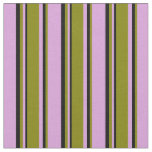 [ Thumbnail: Plum, Green & Black Lined Pattern Fabric ]