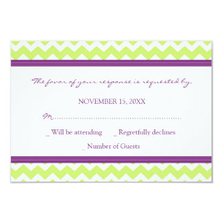 Plum Green Chevron RSVP Wedding Card