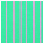 [ Thumbnail: Plum & Green Colored Lines Pattern Fabric ]