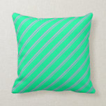 [ Thumbnail: Plum & Green Colored Lines Pattern Throw Pillow ]