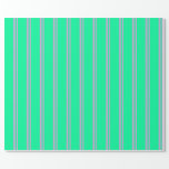 [ Thumbnail: Plum & Green Colored Lines Pattern Wrapping Paper ]