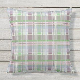 Plum Green Cool Colors Plaid Throw Pillow 20x20