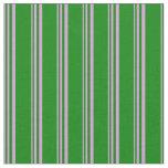 [ Thumbnail: Plum & Green Stripes Pattern Fabric ]