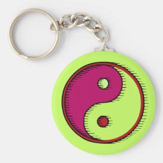 Plum Green Windblown Yin Yang Keychain