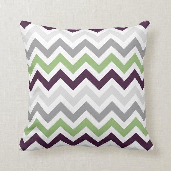 Plum Greenery Gray Chevron Zigzag Pattern Throw Pillow