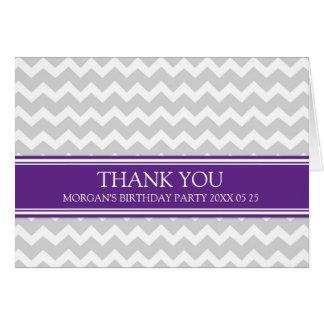 Plum Grey Chevron Birthday Party Thank You Card