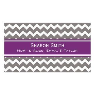 Plum Grey Chevron Retro Mom Calling Cards Business Card