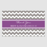 Plum Grey Chevron Thank You Wedding Favor Tags Stickers