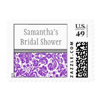 Plum Grey Damask Bridal Shower Wedding Stamp