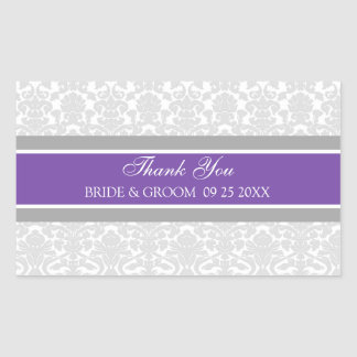 Plum Grey Damask Thank You Wedding Favor Tags Rectangular Sticker