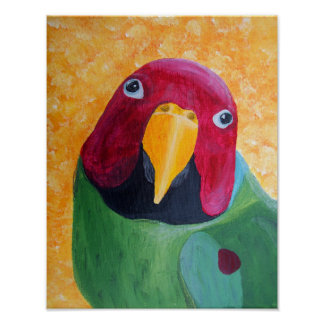 Plum Headed Parakeet Painting Print