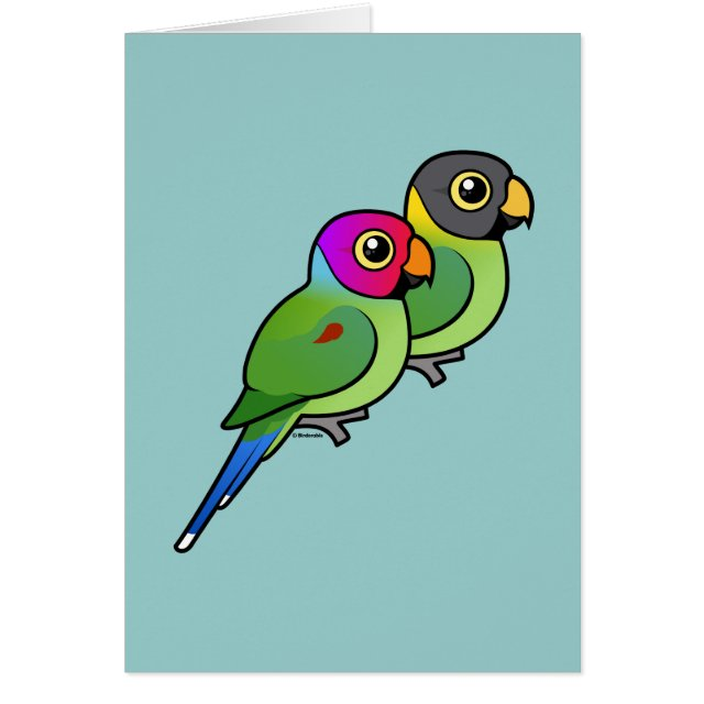 Birdorable Cute Plum-headed Parakeet Pair Greeting Card