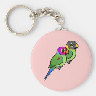 Plum-headed Parakeet Pair Basic Round Button Keychain