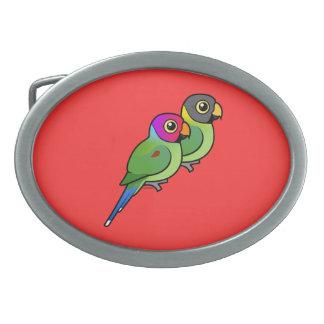 Plum-headed Parakeet Pair Oval Belt Buckles