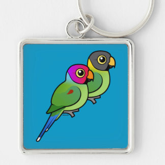 Plum-headed Parakeet Pair Silver-Colored Square Keychain