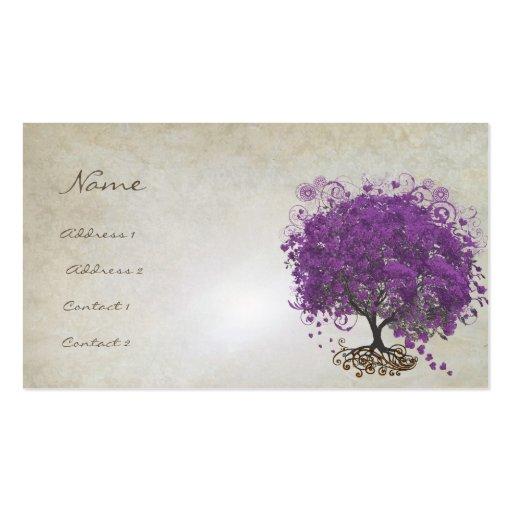 Plum Heart Leaf Tree Roots Swirls Hearts Business Card