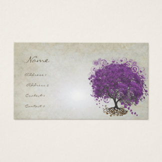 Plum Heart Leaf Tree Roots Swirls Hearts Business Card