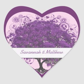 Plum Heart Leaf Tree Wedding Seal