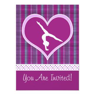 Plum Heart w/ Aqua Stripes and Polka-Dots Gymnast Card