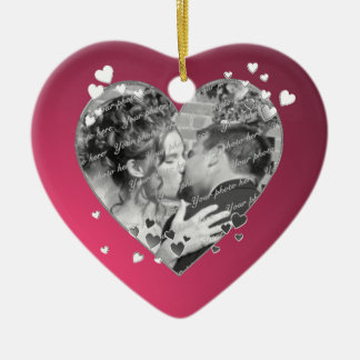 Plum Hearts and Ribbon Photo Double-Sided Heart Ceramic Christmas Ornament