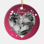 Plum Hearts and Ribbon Photo Christmas Tree Ornament