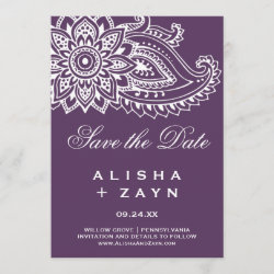 Plum Indian Paisley Save the Date