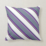 [ Thumbnail: Plum, Indigo, Slate Gray, White & Black Colored Throw Pillow ]