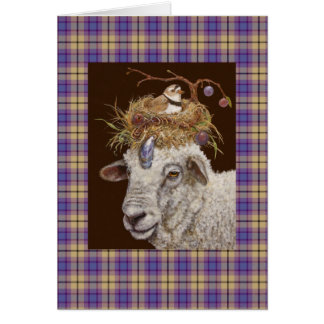 plum island sheep on plaid card