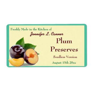 Plum Jam or Preserves  II Fruit Canning Jar Label