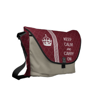 Plum KEEP CALM AND CARRY ON Racing Stripe Courier Bag