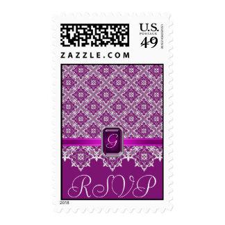 Plum Lace Jeweled Monogram RSVP Postage